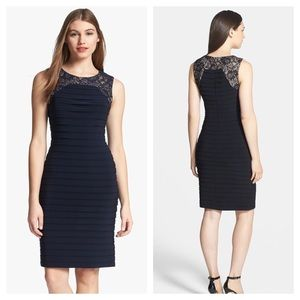 Adrianna Papell Lace Yoke Pleat Sheath Dress